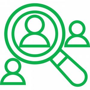 icon of magnifying glass over three people