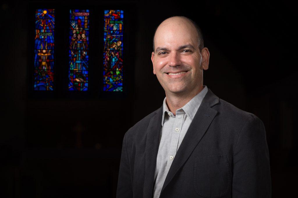 Chris Frilingos, associate professor of religious studies, poses in the MSU Alumni Chapel on Friday October 6, 2017.